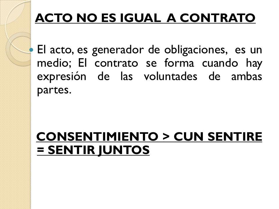 ACTO NO ES IGUAL A CONTRATO El acto, es generador de obligaciones, es un medio; El contrato se forma cuando hay expresión de las voluntades de ambas partes.