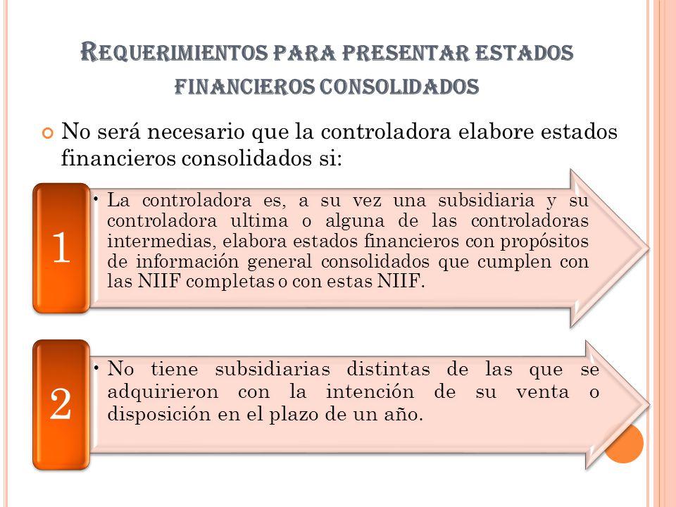 R EQUERIMIENTOS PARA PRESENTAR ESTADOS FINANCIEROS CONSOLIDADOS No será necesario que la controladora elabore estados financieros consolidados si: La