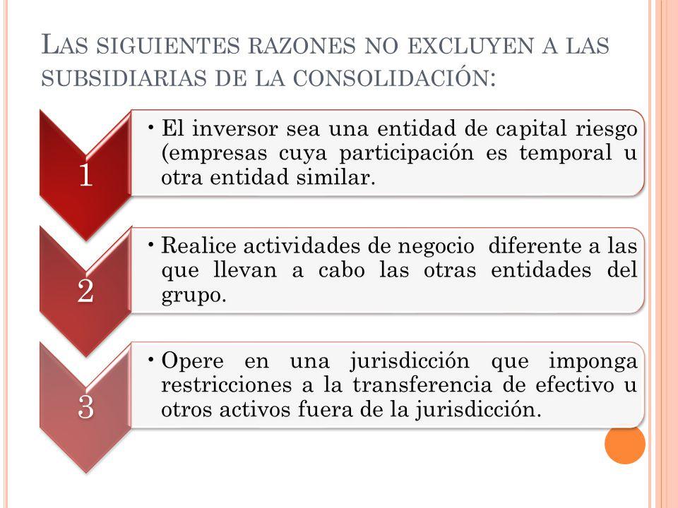 L AS SIGUIENTES RAZONES NO EXCLUYEN A LAS SUBSIDIARIAS DE LA CONSOLIDACIÓN : 1 El inversor sea una entidad de capital riesgo (empresas cuya participac