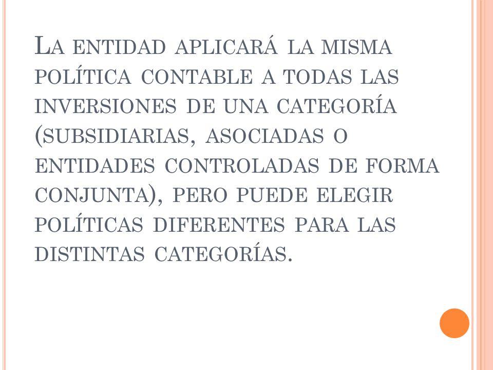L A ENTIDAD APLICARÁ LA MISMA POLÍTICA CONTABLE A TODAS LAS INVERSIONES DE UNA CATEGORÍA ( SUBSIDIARIAS, ASOCIADAS O ENTIDADES CONTROLADAS DE FORMA CO