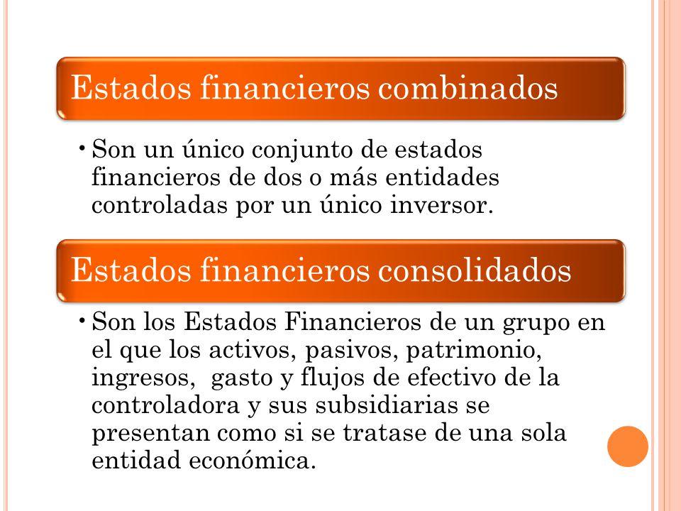 Estados financieros combinados Son un único conjunto de estados financieros de dos o más entidades controladas por un único inversor. Estados financie