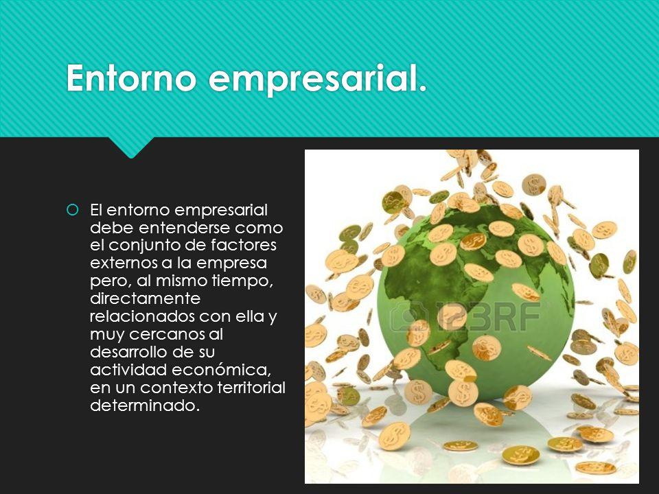 Entorno empresarial. El entorno empresarial debe entenderse como el conjunto de factores externos a la empresa pero, al mismo tiempo, directamente rel