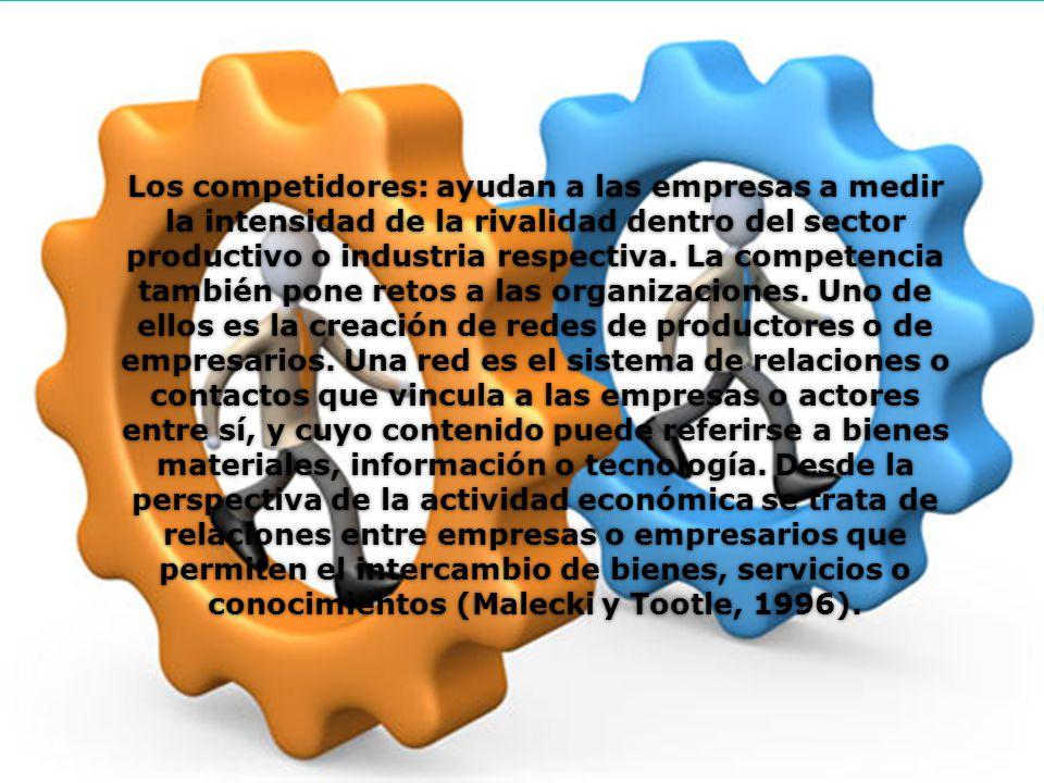 Los competidores: ayudan a las empresas a medir la intensidad de la rivalidad dentro del sector productivo o industria respectiva. La competencia tamb