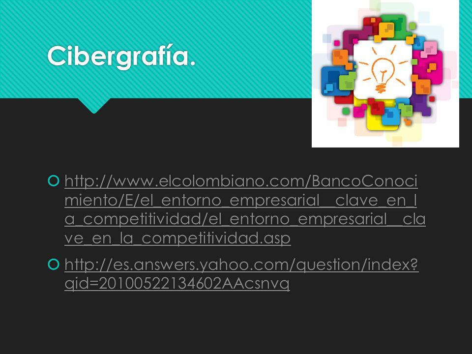 Cibergrafía. http://www.elcolombiano.com/BancoConoci miento/E/el_entorno_empresarial__clave_en_l a_competitividad/el_entorno_empresarial__cla ve_en_la