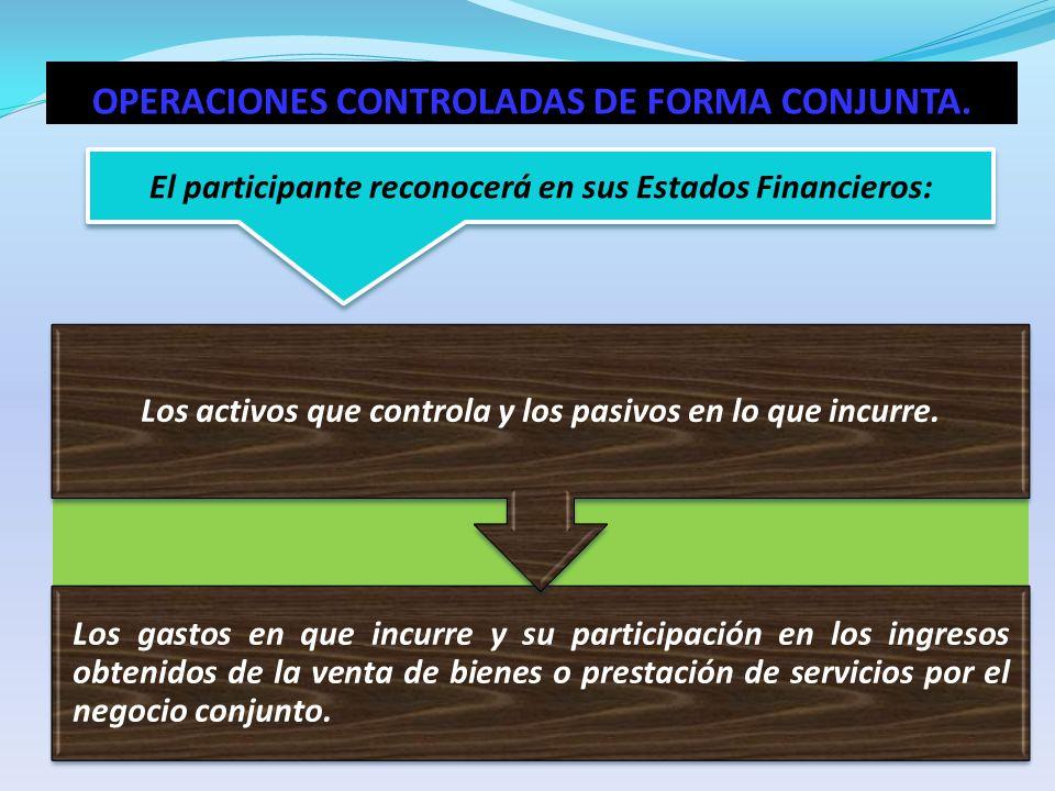 El participante reconocerá en sus Estados Financieros: Los gastos en que incurre y su participación en los ingresos obtenidos de la venta de bienes o