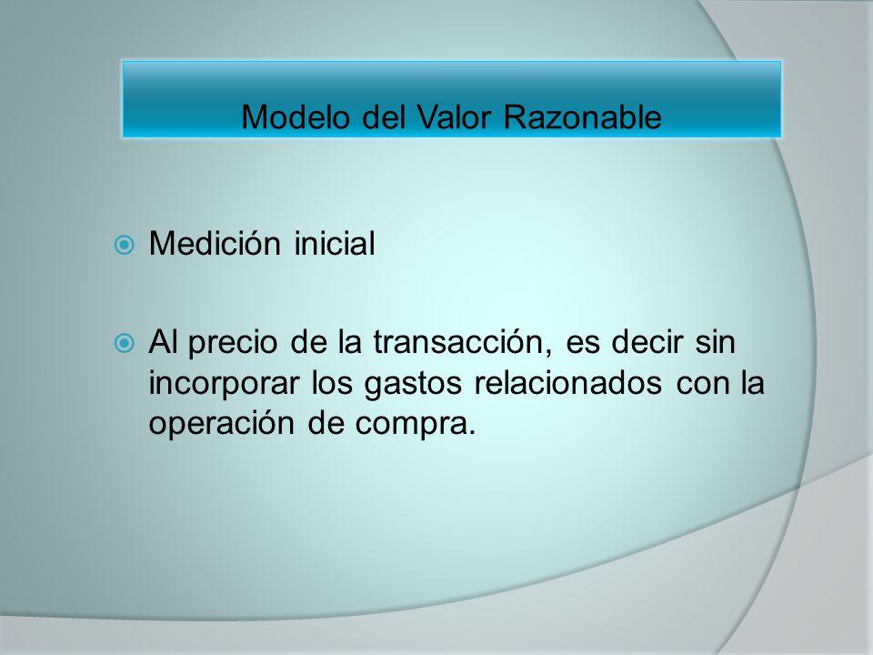 Medición inicial Al precio de la transacción, es decir sin incorporar los gastos relacionados con la operación de compra. Modelo del Valor Razonable