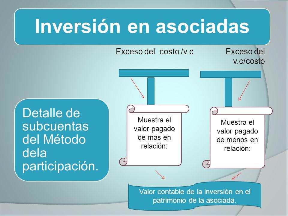 Inversión en asociadas Exceso del costo /v.c Exceso del v.c/costo Detalle de subcuentas del Método dela participación. Muestra el valor pagado de mas