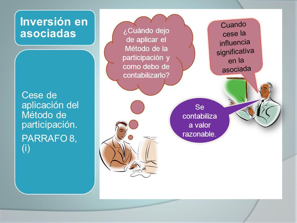 Inversión en asociadas Cese de aplicación del Método de participación. PARRAFO 8, (i) ¿Cuándo dejo de aplicar el Método de la participación y como deb
