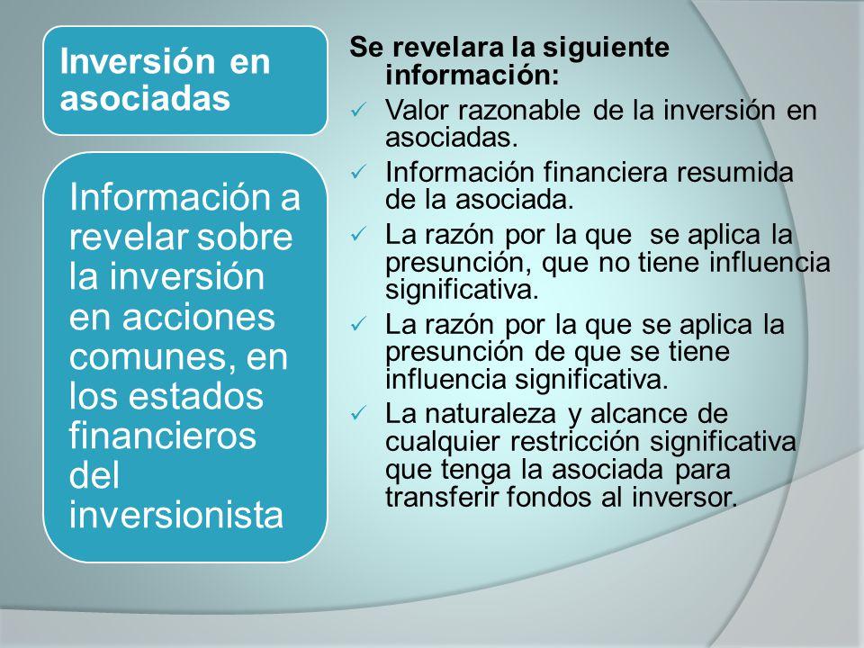 Inversión en asociadas Se revelara la siguiente información: Valor razonable de la inversión en asociadas. Información financiera resumida de la asoci