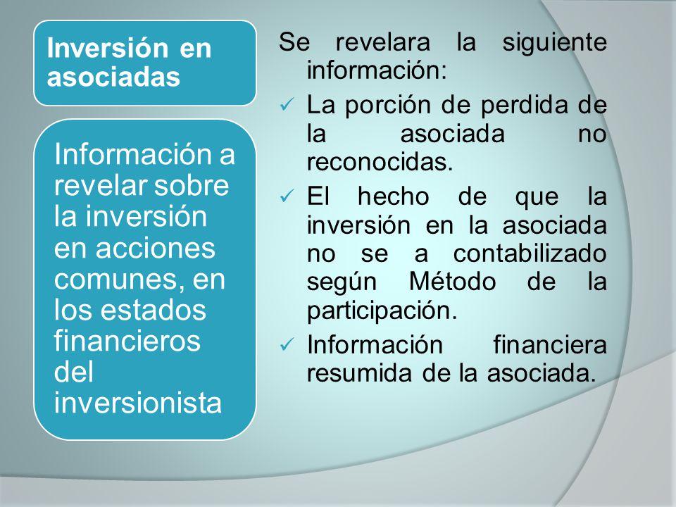 Inversión en asociadas Se revelara la siguiente información: La porción de perdida de la asociada no reconocidas. El hecho de que la inversión en la a