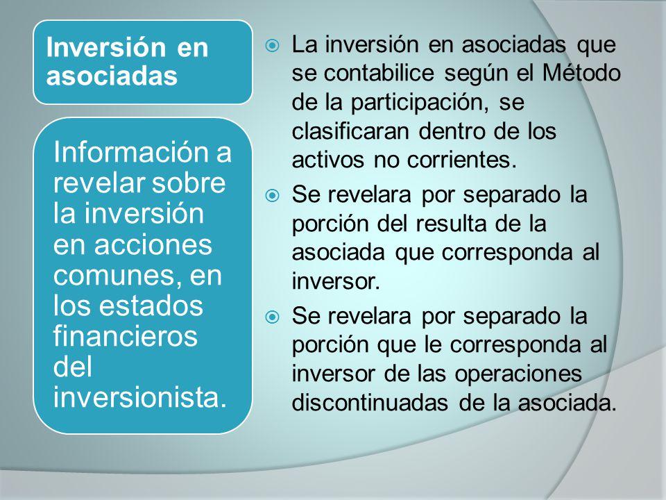 Inversión en asociadas La inversión en asociadas que se contabilice según el Método de la participación, se clasificaran dentro de los activos no corrientes.