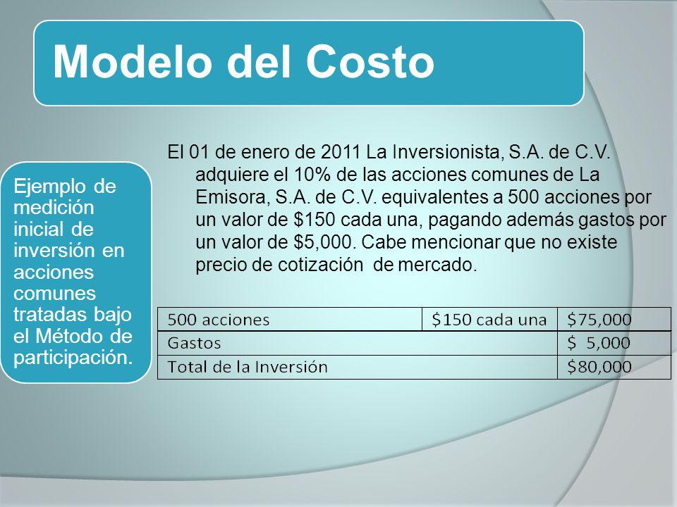 Modelo del Costo El 01 de enero de 2011 La Inversionista, S.A. de C.V. adquiere el 10% de las acciones comunes de La Emisora, S.A. de C.V. equivalente