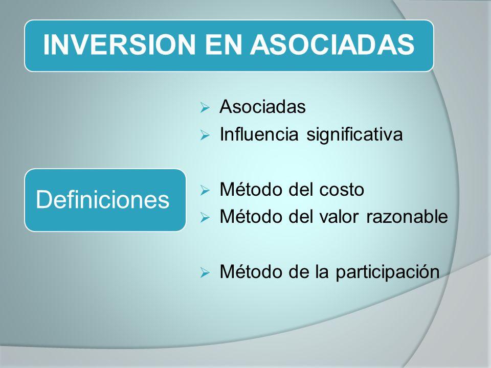 INVERSION EN ASOCIADAS Asociadas Influencia significativa Método del costo Método del valor razonable Método de la participación Definiciones