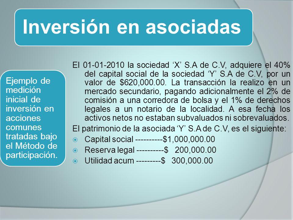 Inversión en asociadas El 01-01-2010 la sociedad X S.A de C.V, adquiere el 40% del capital social de la sociedad Y S.A de C.V, por un valor de $620,000.00.