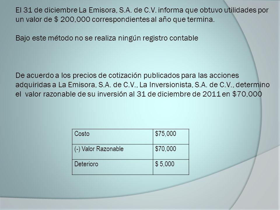 El 31 de diciembre La Emisora, S.A. de C.V. informa que obtuvo utilidades por un valor de $ 200,000 correspondientes al año que termina. Bajo este mét