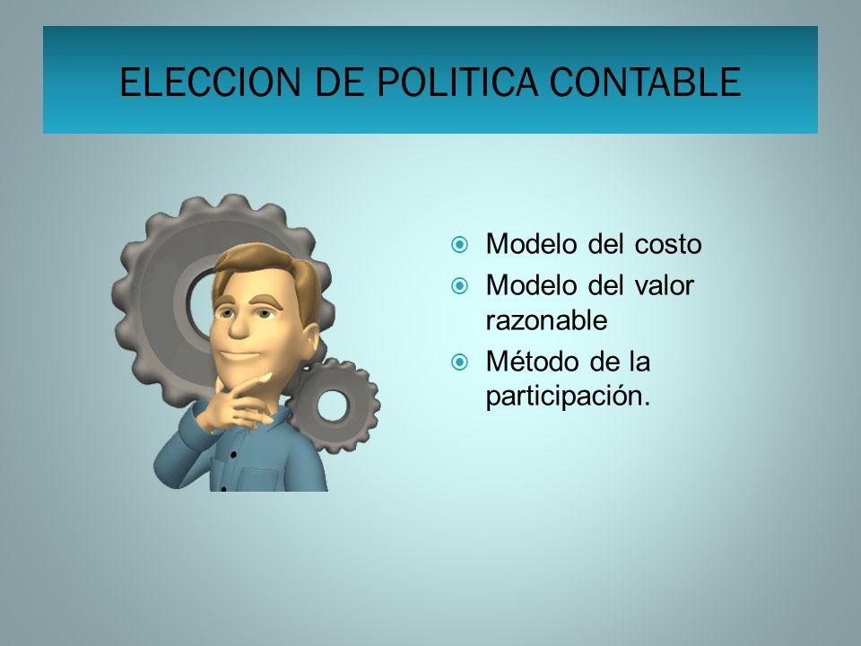 ELECCION DE POLITICA CONTABLE Modelo del costo Modelo del valor razonable Método de la participación.