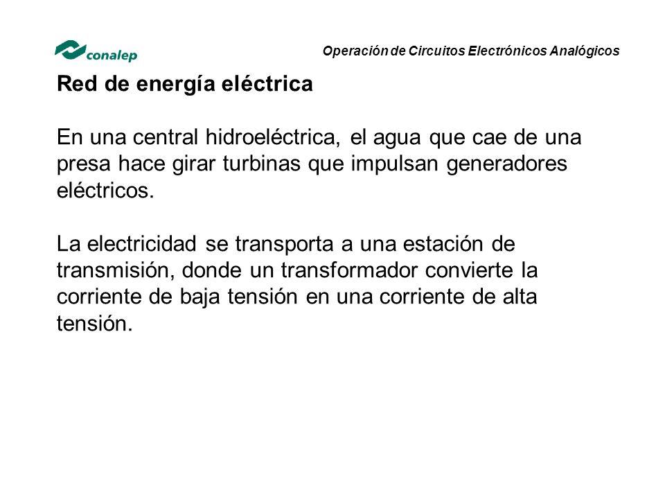 Red de energía eléctrica En una central hidroeléctrica, el agua que cae de una presa hace girar turbinas que impulsan generadores eléctricos. La elect