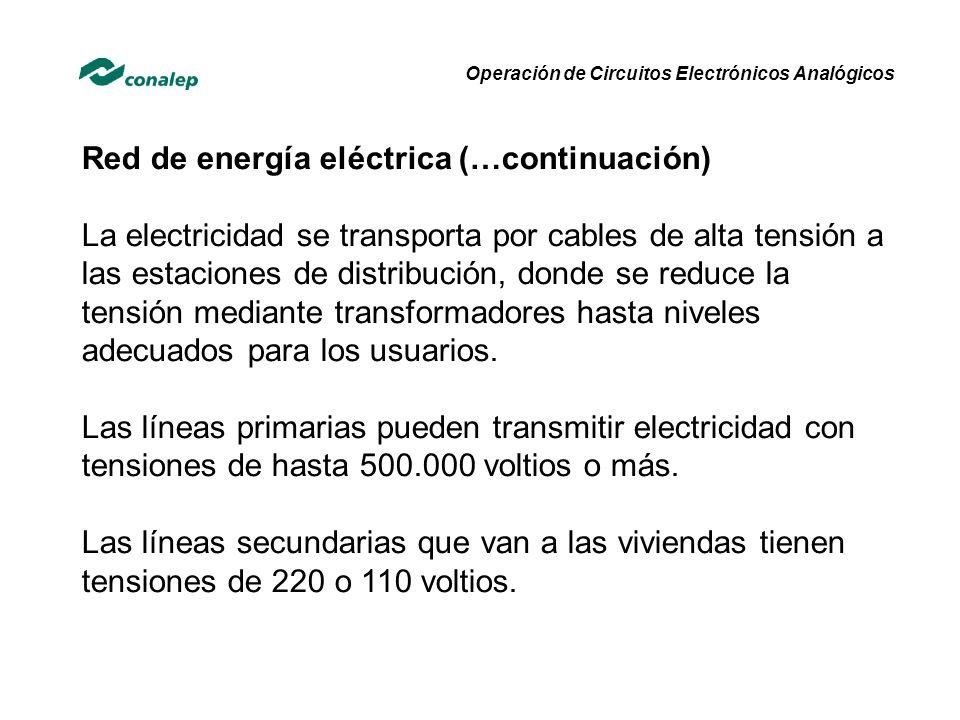 Red de energía eléctrica (…continuación) La electricidad se transporta por cables de alta tensión a las estaciones de distribución, donde se reduce la