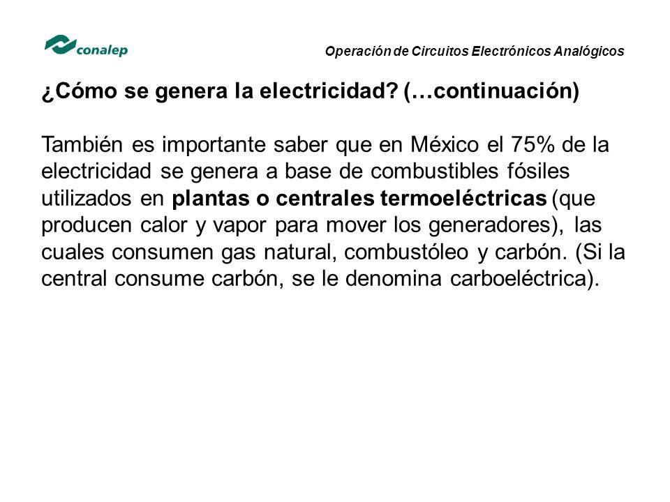 Operación de Circuitos Electrónicos Analógicos ¿Cómo se genera la electricidad? (…continuación) También es importante saber que en México el 75% de la