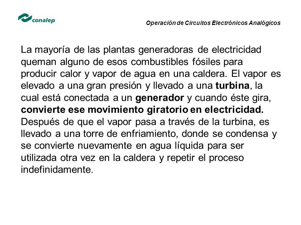 Operación de Circuitos Electrónicos Analógicos La mayoría de las plantas generadoras de electricidad queman alguno de esos combustibles fósiles para p