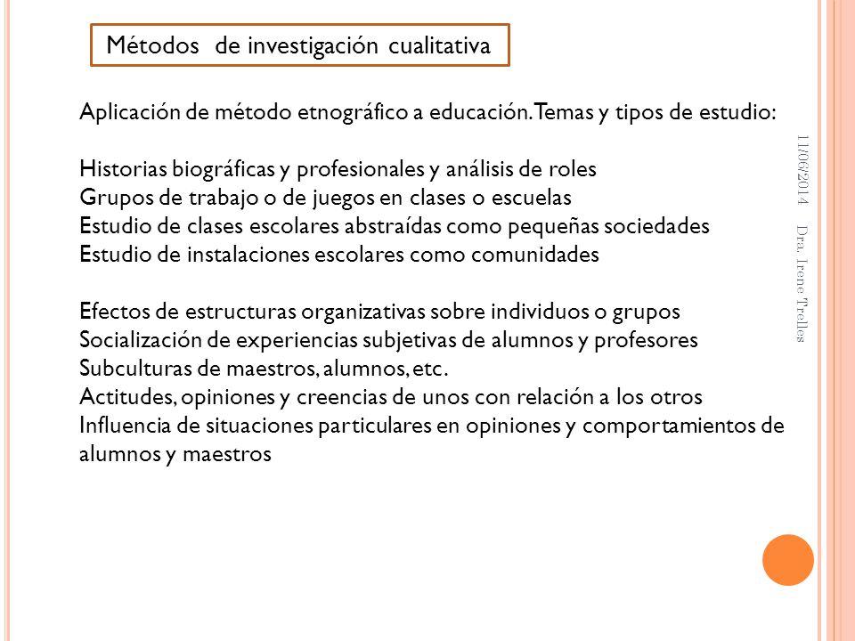 11/06/2014 Dra. Irene Trelles Métodos de investigación cualitativa Aplicación de método etnográfico a educación. Temas y tipos de estudio: Historias b