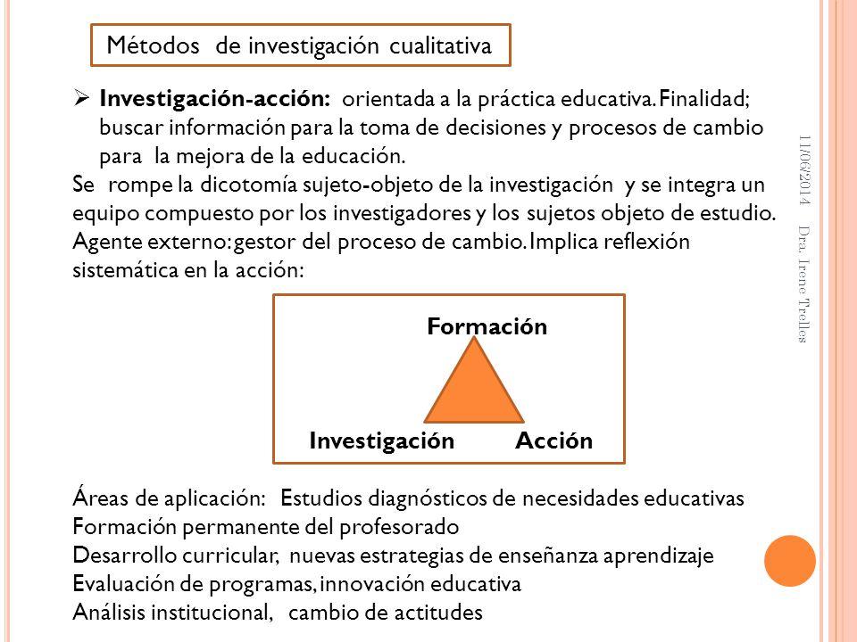 11/06/2014 Dra. Irene Trelles Investigación-acción: orientada a la práctica educativa. Finalidad; buscar información para la toma de decisiones y proc