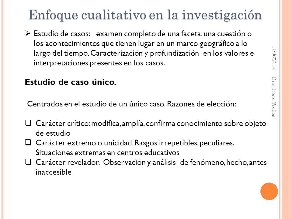11/06/2014 Dra. Irene Trelles Estudio de casos: examen completo de una faceta, una cuestión o los acontecimientos que tienen lugar en un marco geográf