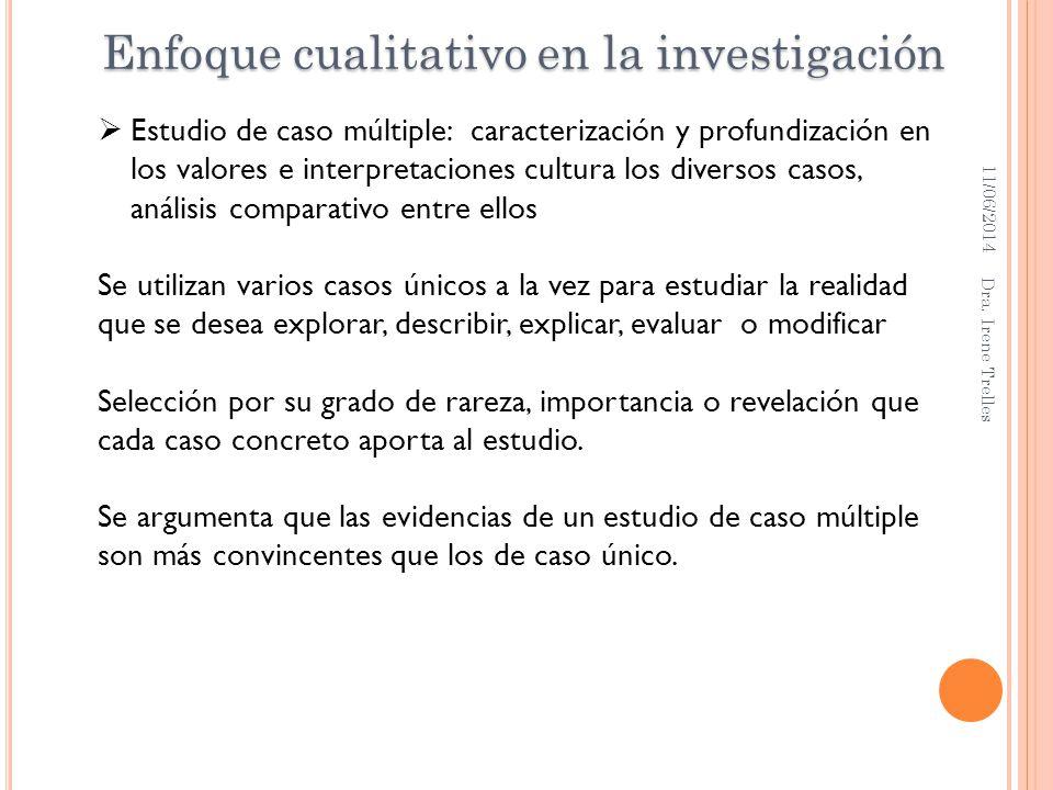 11/06/2014 Dra. Irene Trelles Estudio de caso múltiple: caracterización y profundización en los valores e interpretaciones cultura los diversos casos,
