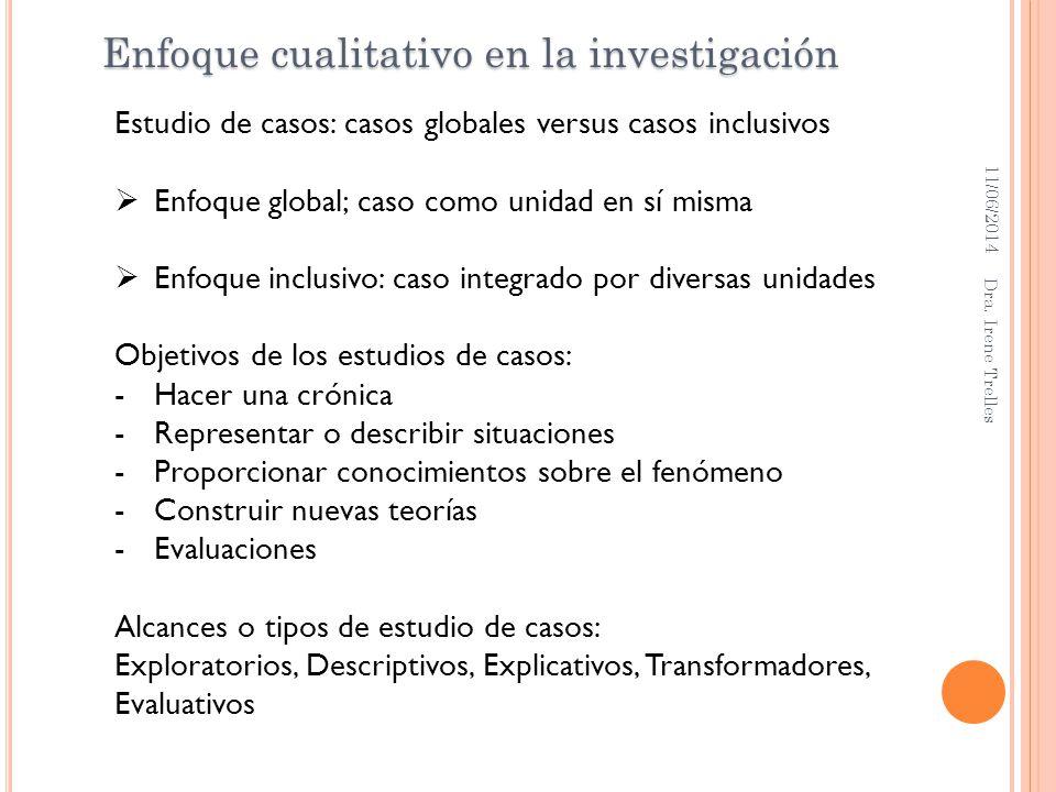 11/06/2014 Dra. Irene Trelles Enfoque cualitativo en la investigación Estudio de casos: casos globales versus casos inclusivos Enfoque global; caso co