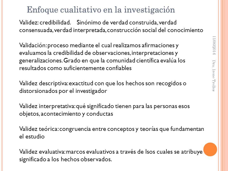 11/06/2014 Dra. Irene Trelles Enfoque cualitativo en la investigación Validez: credibilidad. Sinónimo de verdad construida, verdad consensuada, verdad