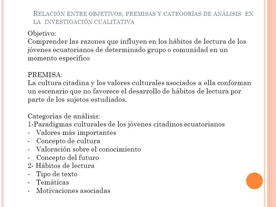 Objetivo: Comprender las razones que influyen en los hábitos de lectura de los jóvenes ecuatorianos de determinado grupo o comunidad en un momento esp