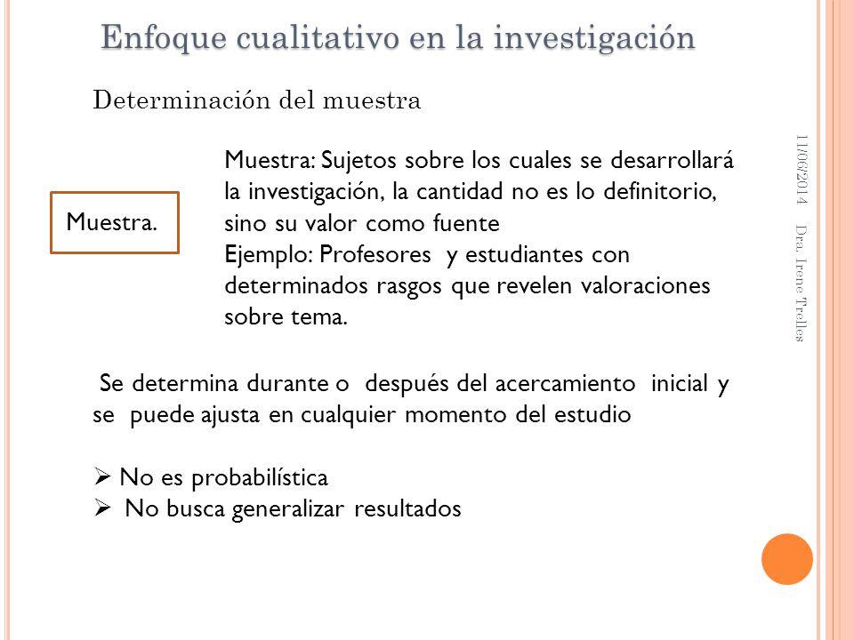 11/06/2014 Dra. Irene Trelles Se determina durante o después del acercamiento inicial y se puede ajusta en cualquier momento del estudio No es probabi