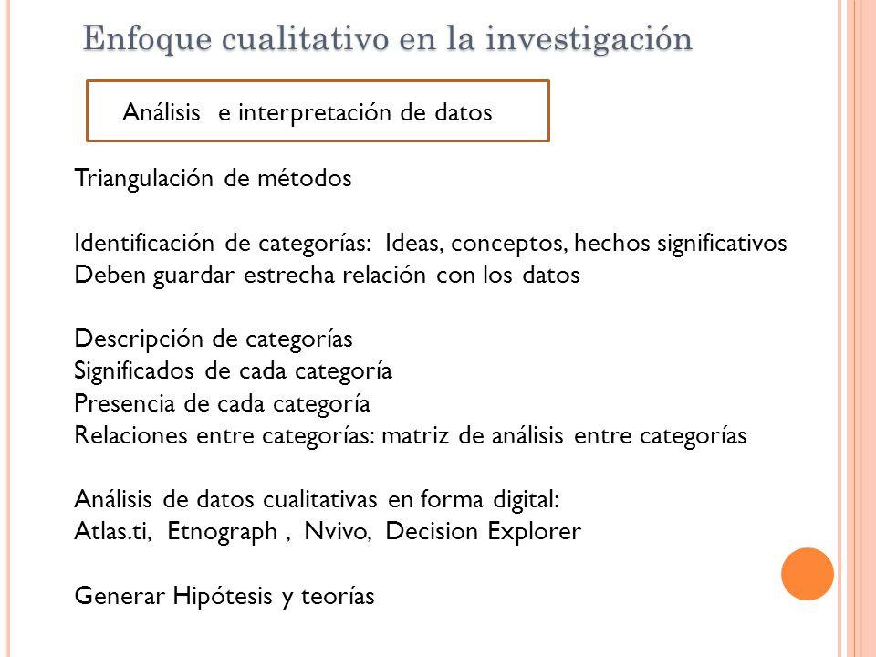 Triangulación de métodos Identificación de categorías: Ideas, conceptos, hechos significativos Deben guardar estrecha relación con los datos Descripci