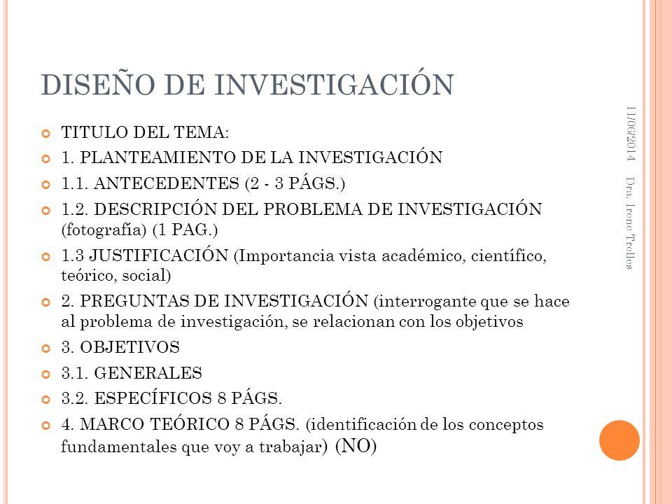 DISEÑO DE INVESTIGACIÓN TITULO DEL TEMA: 1. PLANTEAMIENTO DE LA INVESTIGACIÓN 1.1. ANTECEDENTES (2 - 3 PÁGS.) 1.2. DESCRIPCIÓN DEL PROBLEMA DE INVESTI
