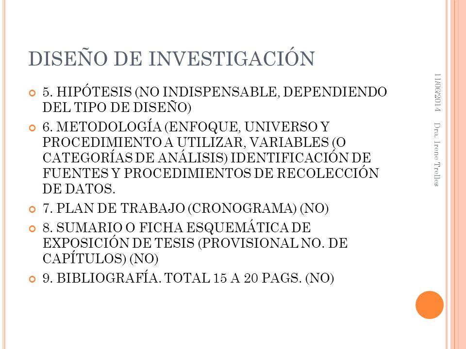 DISEÑO DE INVESTIGACIÓN 5. HIPÓTESIS (NO INDISPENSABLE, DEPENDIENDO DEL TIPO DE DISEÑO) 6. METODOLOGÍA (ENFOQUE, UNIVERSO Y PROCEDIMIENTO A UTILIZAR,
