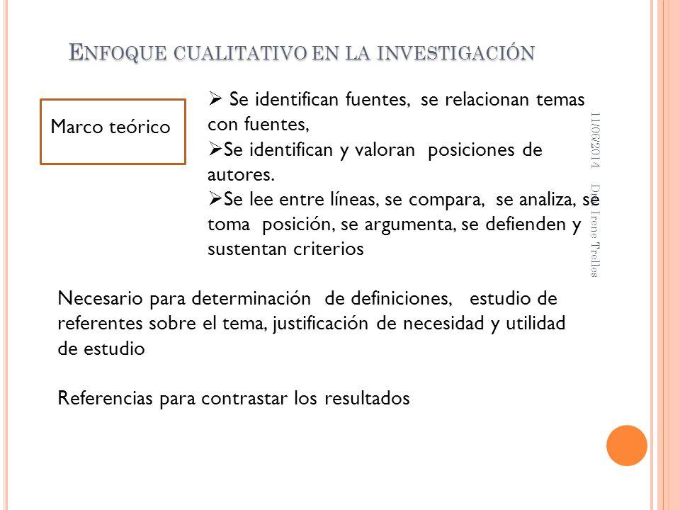 Marco teórico E NFOQUE CUALITATIVO EN LA INVESTIGACIÓN Necesario para determinación de definiciones, estudio de referentes sobre el tema, justificació