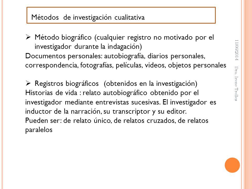 11/06/2014 Dra. Irene Trelles Métodos de investigación cualitativa Método biográfico (cualquier registro no motivado por el investigador durante la in