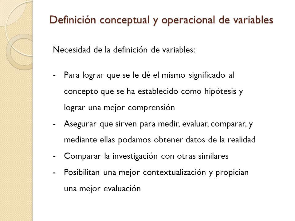 Definición conceptual y operacional de variables Necesidad de la definición de variables: -Para lograr que se le dé el mismo significado al concepto que se ha establecido como hipótesis y lograr una mejor comprensión -Asegurar que sirven para medir, evaluar, comparar, y mediante ellas podamos obtener datos de la realidad -Comparar la investigación con otras similares -Posibilitan una mejor contextualización y propician una mejor evaluación