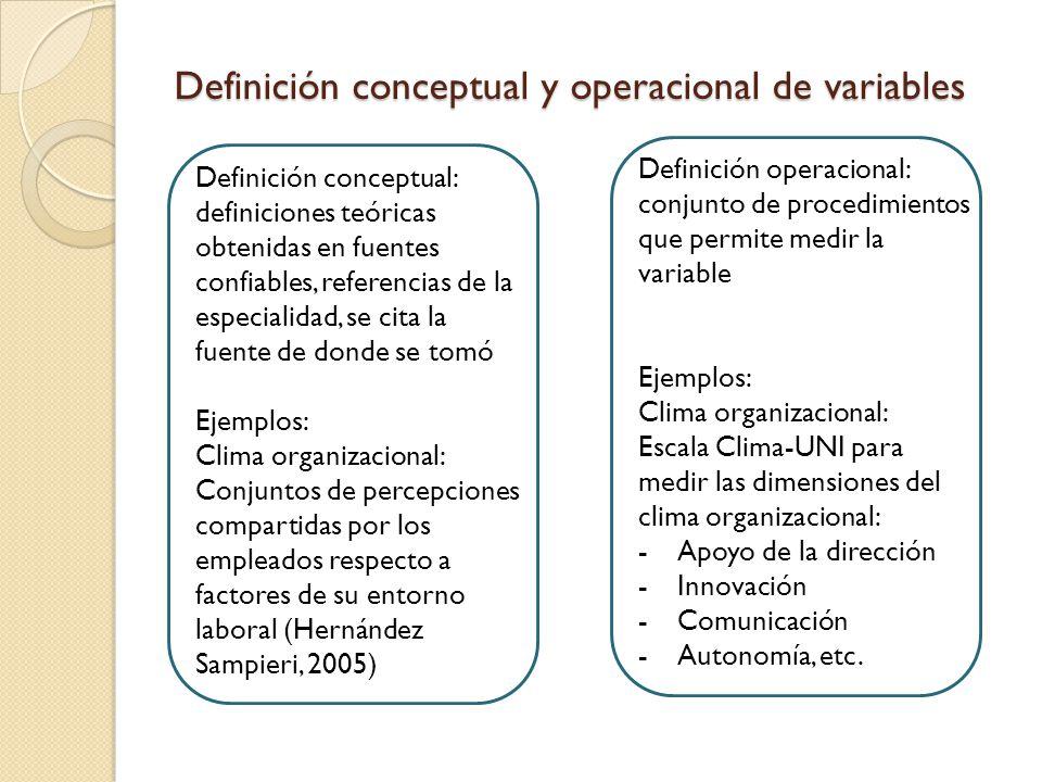 Definición conceptual y operacional de variables Definición conceptual: definiciones teóricas obtenidas en fuentes confiables, referencias de la especialidad, se cita la fuente de donde se tomó Ejemplos: Clima organizacional: Conjuntos de percepciones compartidas por los empleados respecto a factores de su entorno laboral (Hernández Sampieri, 2005) Definición operacional: conjunto de procedimientos que permite medir la variable Ejemplos: Clima organizacional: Escala Clima-UNI para medir las dimensiones del clima organizacional: -Apoyo de la dirección -Innovación -Comunicación -Autonomía, etc.