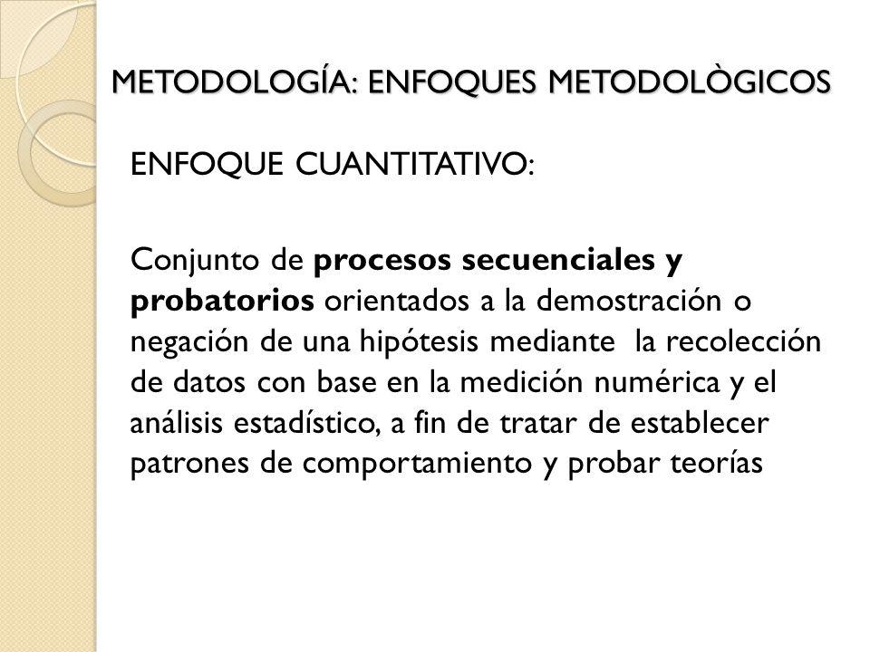 ENFOQUE CUANTITATIVO: Conjunto de procesos secuenciales y probatorios orientados a la demostración o negación de una hipótesis mediante la recolección de datos con base en la medición numérica y el análisis estadístico, a fin de tratar de establecer patrones de comportamiento y probar teorías METODOLOGÍA: ENFOQUES METODOLÒGICOS