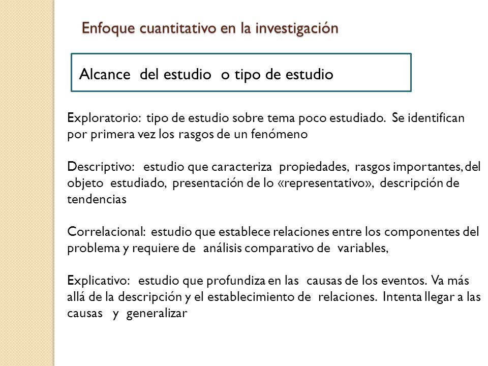 Exploratorio: tipo de estudio sobre tema poco estudiado.