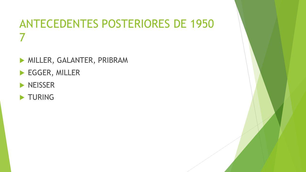 ANTECEDENTES POSTERIORES DE 1950 7 MILLER, GALANTER, PRIBRAM EGGER, MILLER NEISSER TURING