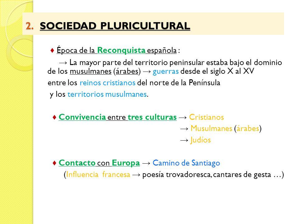 2. SOCIEDAD PLURICULTURAL 2. SOCIEDAD PLURICULTURAL Época de la Reconquista española : La mayor parte del territorio peninsular estaba bajo el dominio
