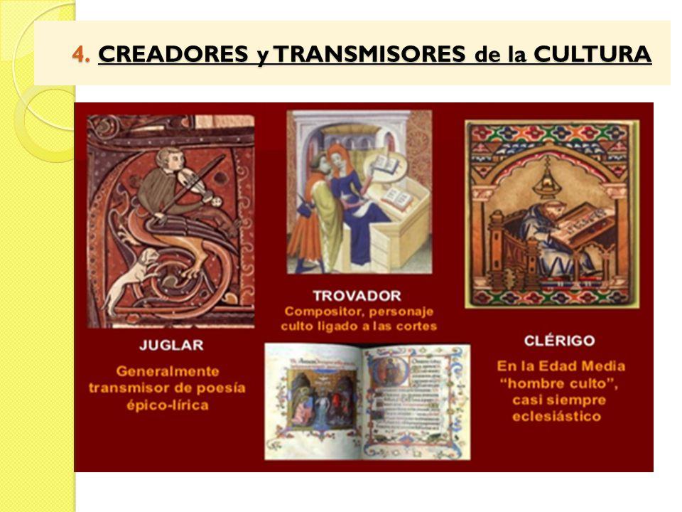 4. CREADORES y TRANSMISORES de la CULTURA 4. CREADORES y TRANSMISORES de la CULTURA