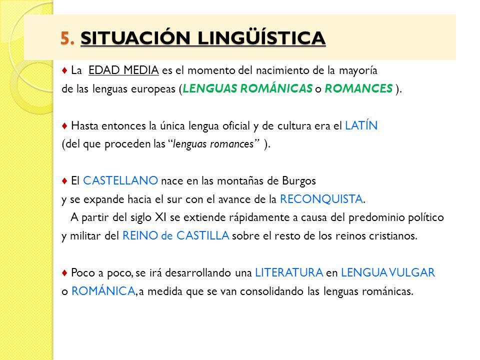 5. SITUACIÓN LINGÜÍSTICA 5. SITUACIÓN LINGÜÍSTICA La EDAD MEDIA es el momento del nacimiento de la mayoría de las lenguas europeas (LENGUAS ROMÁNICAS