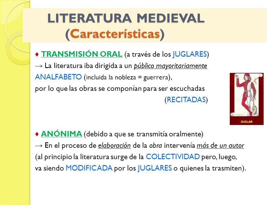 LITERATURA MEDIEVAL (Características) LITERATURA MEDIEVAL (Características) TRANSMISIÓN ORAL (a través de los JUGLARES) La literatura iba dirigida a un público mayoritariamente ANALFABETO ( incluida la nobleza = guerrera ), por lo que las obras se componían para ser escuchadas (RECITADAS) ANÓNIMA (debido a que se transmitía oralmente) En el proceso de elaboración de la obra intervenía más de un autor (al principio la literatura surge de la COLECTIVIDAD pero, luego, va siendo MODIFICADA por los JUGLARES o quienes la trasmiten).