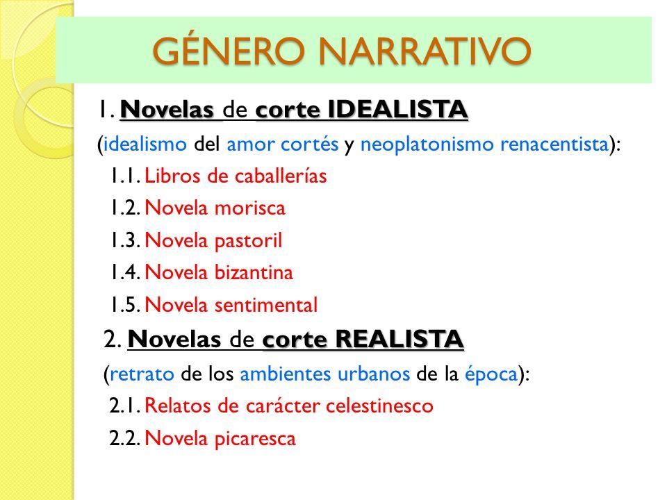GÉNERO NARRATIVO GÉNERO NARRATIVO Novelas corte IDEALISTA 1. Novelas de corte IDEALISTA (idealismo del amor cortés y neoplatonismo renacentista): 1.1.