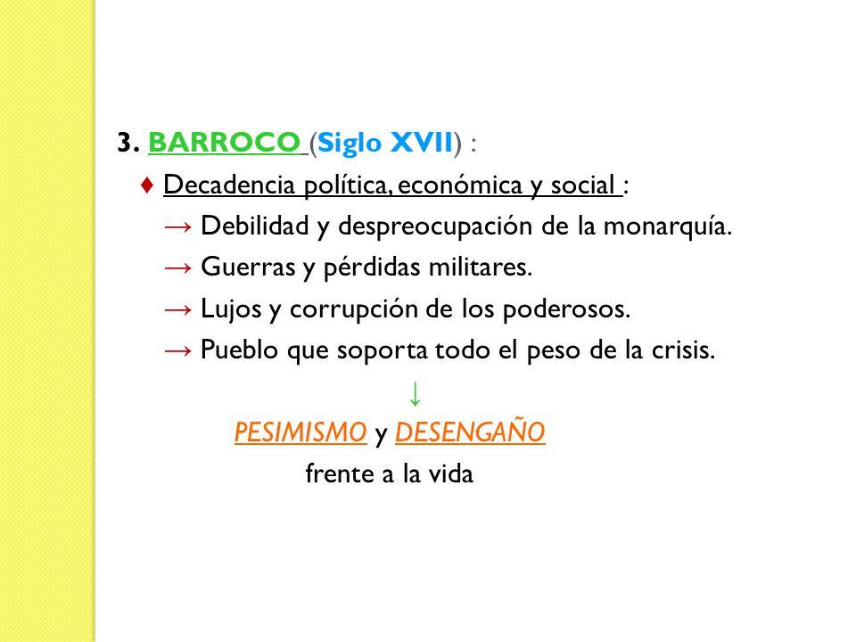 3. BARROCO (Siglo XVII) : Decadencia política, económica y social : Debilidad y despreocupación de la monarquía. Guerras y pérdidas militares. Lujos y