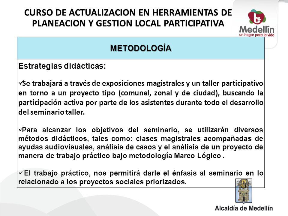 METODOLOGÍA Estrategias didácticas: Se trabajará a través de exposiciones magistrales y un taller participativo en torno a un proyecto tipo (comunal,