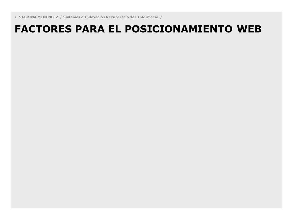 / SABRINA MENÉNDEZ / Sistemes d Indexació i Recuperació de l Informació / FACTORES PARA EL POSICIONAMIENTO WEB